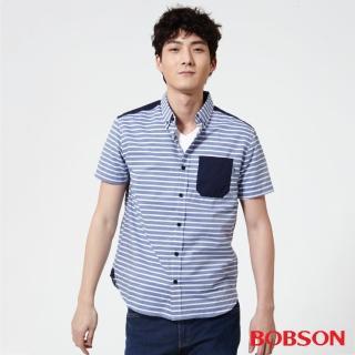 【BOBSON】男款橫條紋襯衫(藍25003-53)