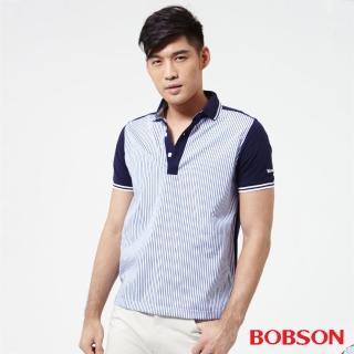 【BOBSON】男款配條POLO上衣(藍25011-53)