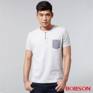 【BOBSON】男款配條紋上衣(灰25018-83)