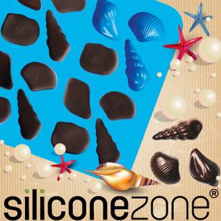 【Siliconezone】施理康耐熱貝殼造型巧克力模/冰模(藍色)