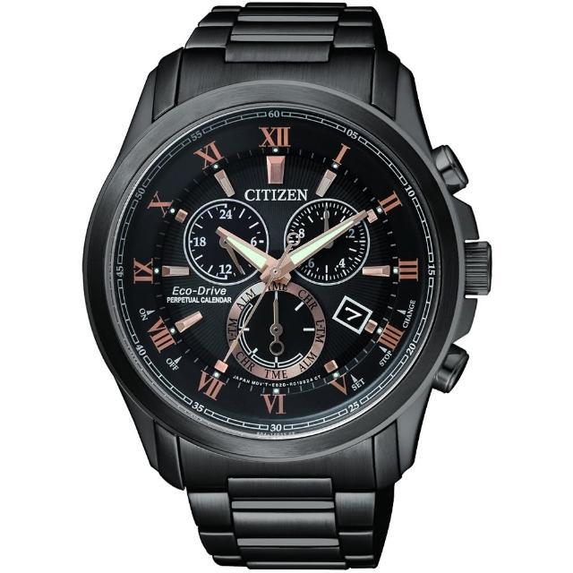 【CITIZEN】亞洲限量光動能萬年曆腕錶-黑x玫瑰金/43mm(BL5545-50E)