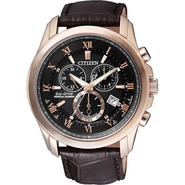 【CITIZEN】亞洲限量光動能萬年曆腕錶-黑x玫瑰金框/43mm(BL5542-07E)