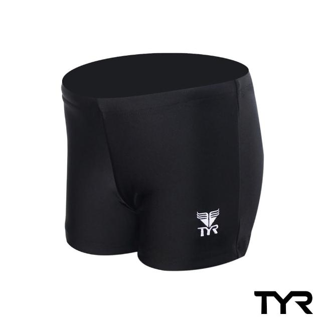 【美國TYR】男用四角黑色訓練款泳褲Solid Boxer Trunk(台灣總代理)