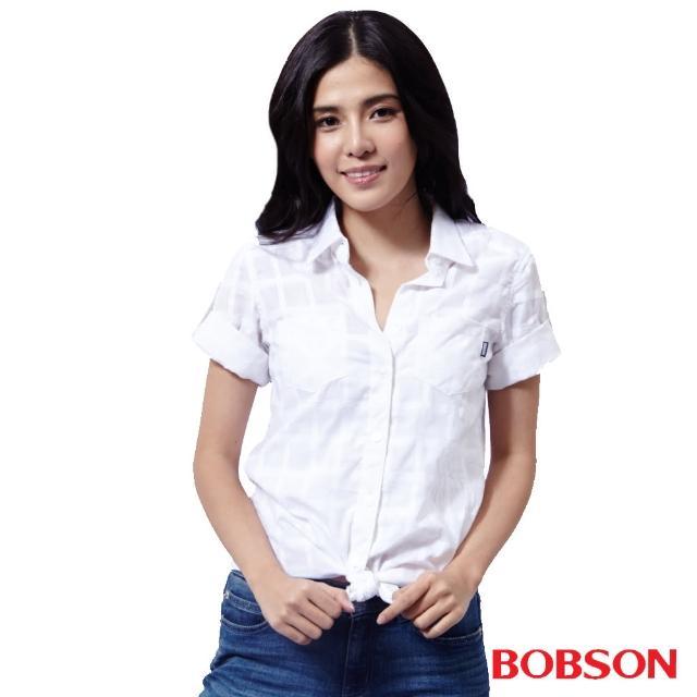 【BOBSON】女款格狀提織紋襯衫(白25134-81)