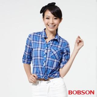 【BOBSON】女款格子襯衫(藍25137-58)