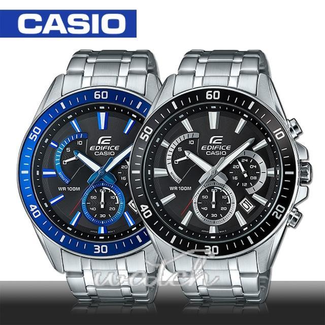 【CASIO 卡西歐EDIFICE系列】送禮首選 三眼計時 石英不鏽鋼男錶 4.7cm(EFR-552D)
