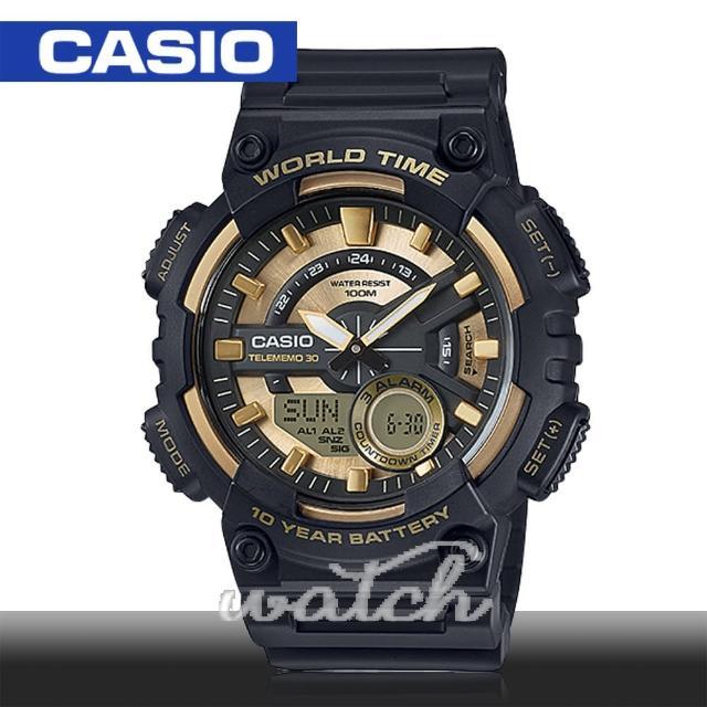 【CASIO 卡西歐】多功能運動錶 30組電話簿 防水 旅人自由行最愛 鏡面4.6cm(AEQ-110BW)