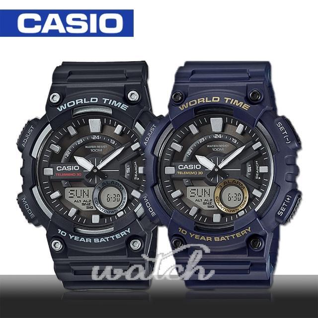 【CASIO 卡西歐】多功能運動錶 30組電話簿 防水 旅人自由行最愛 鏡面4.6cm(AEQ-110W)