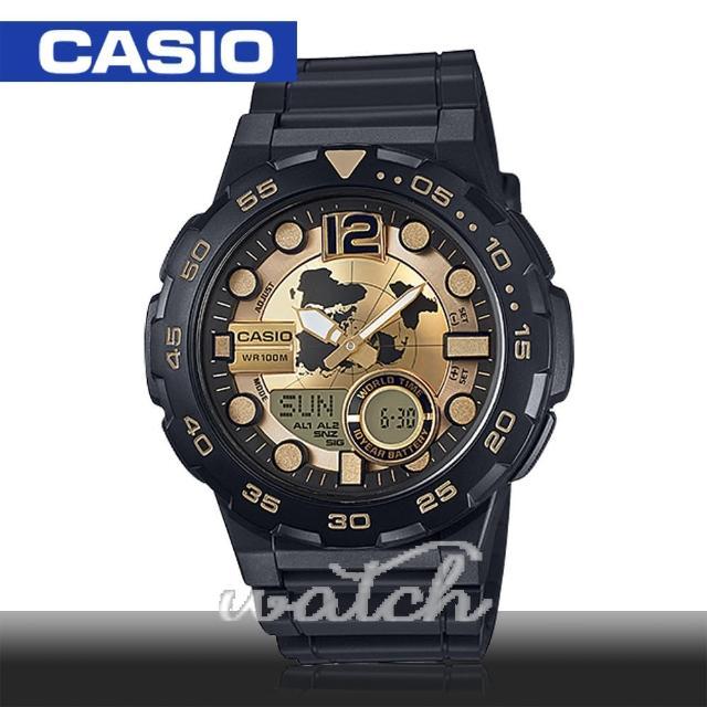【CASIO 卡西歐】多功能運動錶 30組電話簿 防水 旅人自由行最愛 鏡面4.7cm(AEQ-100BW)