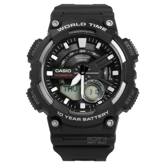 【CASIO 卡西歐】酷勁潮流電話號碼雙顯橡膠腕錶 黑色 46mm(AEQ-110W-1A)