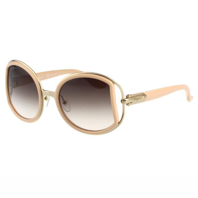 【Salvatore Ferragamo】- 時尚 太陽眼鏡(粉膚色)