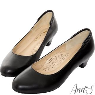 【Ann'S】通勤久站款全真羊皮低跟包鞋(黑)