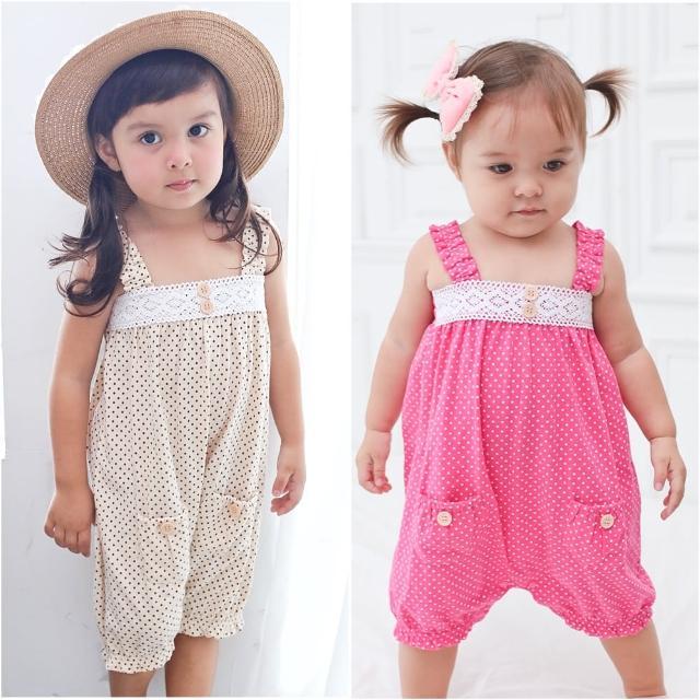 【baby童衣】女寶寶點點連身衣2色吊帶爬服 60004(共2色)