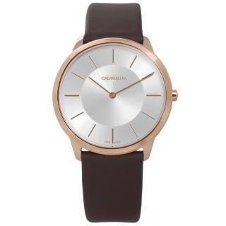 【Calvin Klein】時尚曼哈頓簡約風皮革腕錶 銀x玫瑰金框x深褐 39mm(K3M216G6)