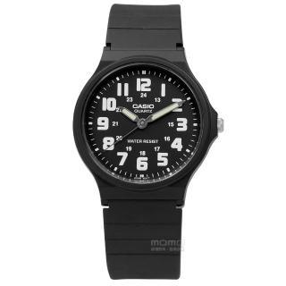 【CASIO 卡西歐】休閒百搭橡膠腕錶 白x黑 33mm(MQ-71-1B)