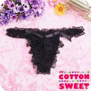 【棉花甜】酷娃娃多層蕾絲 丁字褲(黑 B-036)