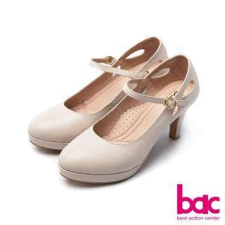 【bac】浪漫美學-素雅縷空瑪莉珍防水台微尖頭高跟鞋(粉膚色)