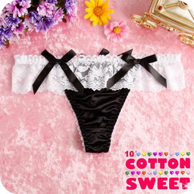 【棉花甜】凱特奢華緞面蕾絲 丁字褲(黑 B-137)
