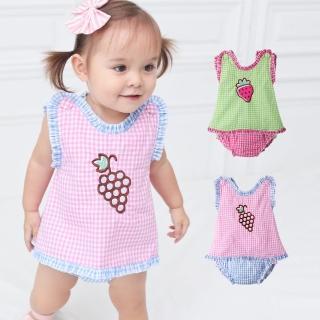 【baby童衣】嬰兒套裝 精美刺繡格子罩衫配屁屁滾邊褲套裝 61042(共2色)