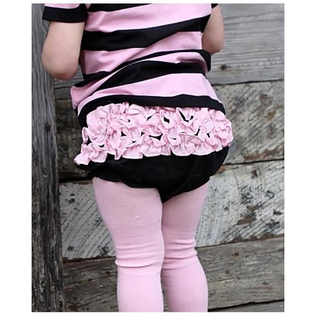 【美國 RuffleButts】小女童荷葉屁屁褲/包屁褲_黑色/淡粉 Woven(RBRBW010)