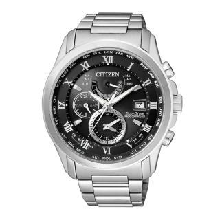 ~CITIZEN~紳士典雅光動能電波時計腕錶^(灰黑 AT9080~57E^)
