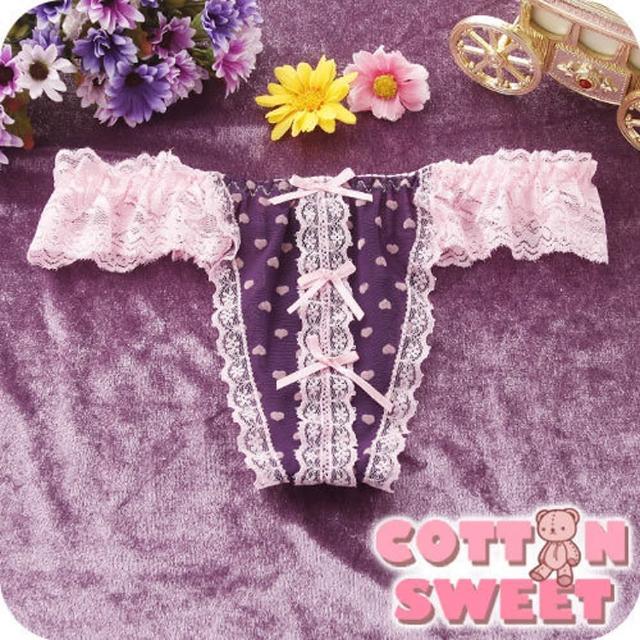 【棉花甜】Angel D.愛心雪紗蕾絲 丁字褲(紫粉 B-164)