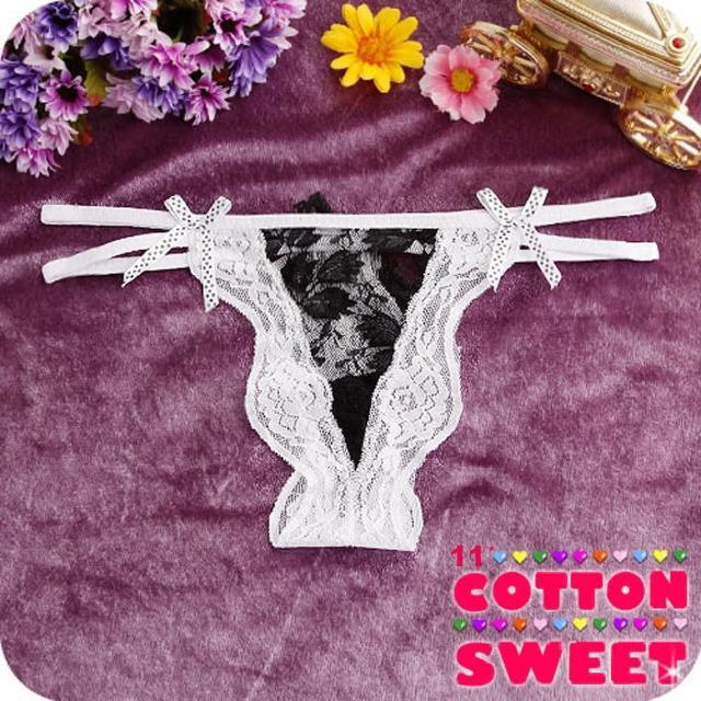 【棉花甜】鍾情裸色蕾絲雙帶 丁字褲(白 B-170)