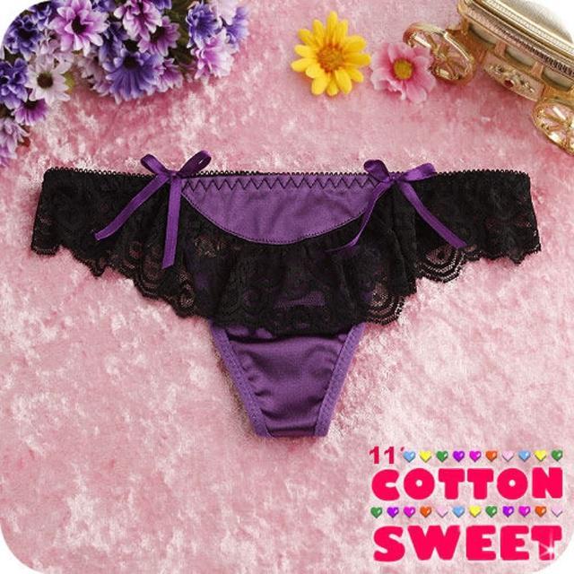 【棉花甜】變裝美人緞面蕾絲 丁字褲(紫 B-176)