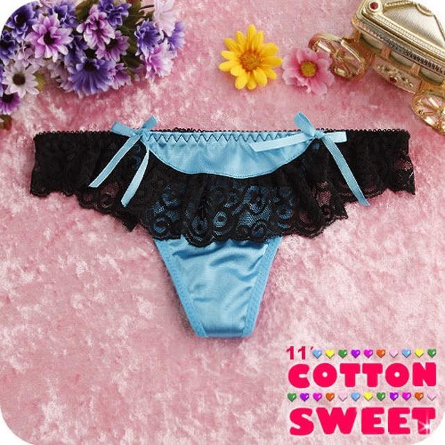 【棉花甜】變裝美人緞面蕾絲 丁字褲(藍 B-176)