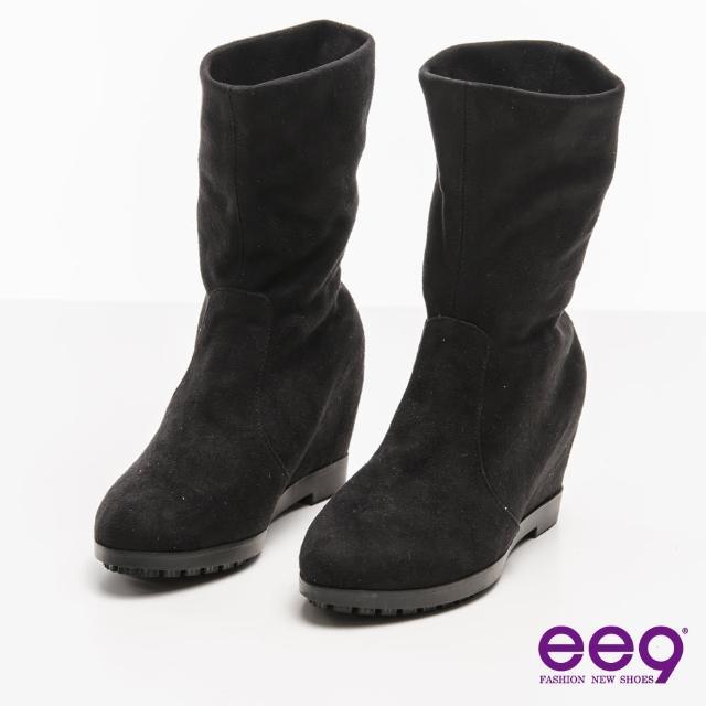 【ee9】通勤私藏-2WAY經典素面彈力羊絨平底內增高中筒靴*黑色(內增高中筒靴)