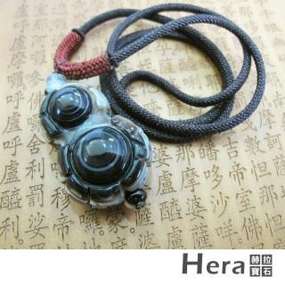 【Hera】天然波斯瓦納精雕葫蘆財納褔財咒天眼項鍊(獨一無二)