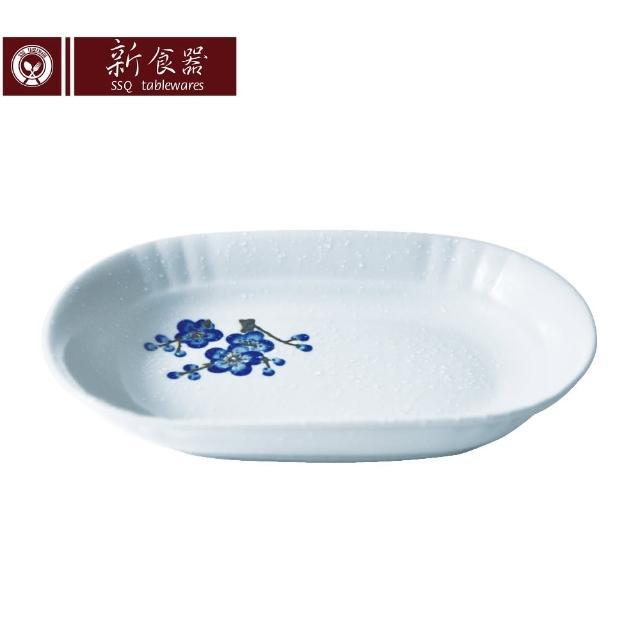 【新食器】蘭梅花香手繪8吋橢圓餐盤(1入 盤子)