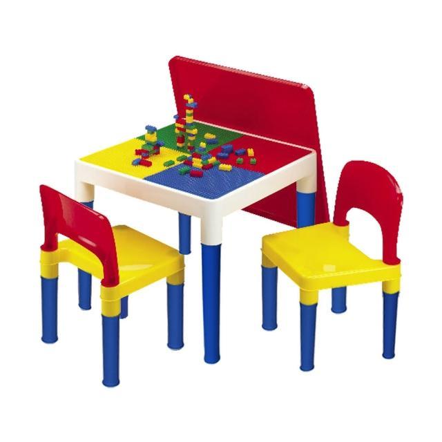 【孩子國】方形積木桌椅組(送網袋及100顆小積木哦!!)