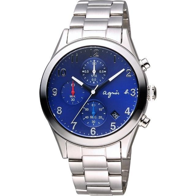 【agnes b.】巴黎城市風尚計時腕錶-藍x銀/40mm(VD57-KT20B BM3008X1)