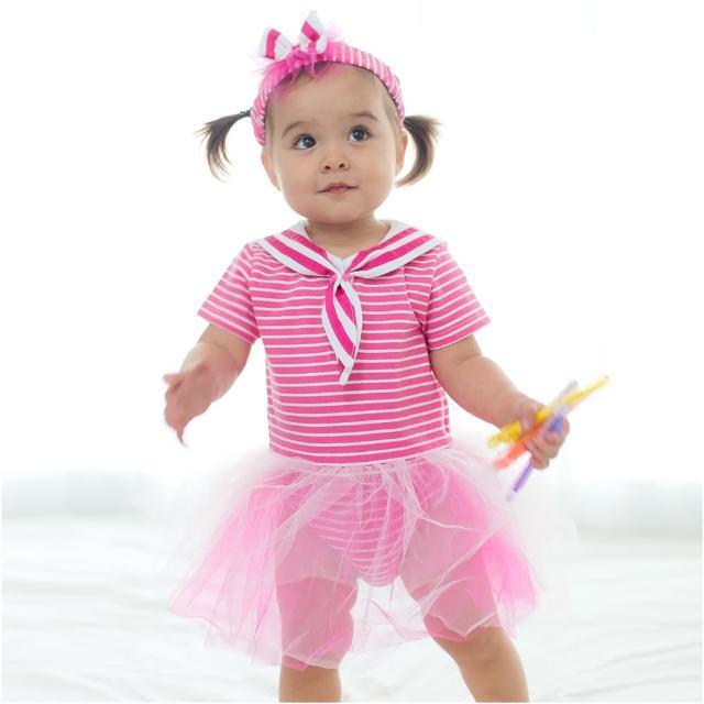 【baby童衣】嬰兒包屁衣 女寶寶包屁裙 哈裙 水手風條紋紗裙加髮帶 60206(共1色)