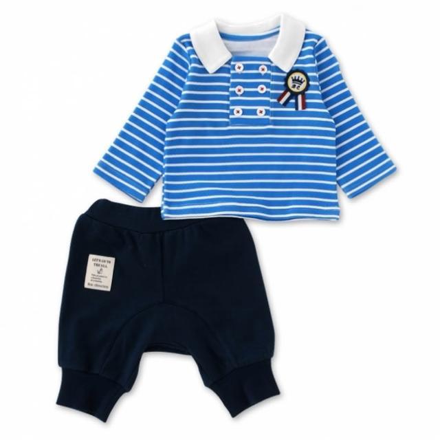 【日本 Nishiki】長袖上衣+燈籠短褲 套裝2件組 - 藍色條紋雙排扣(P3114-B)