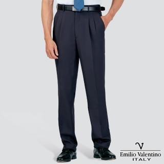 【Emilio Valentino 范倫提諾】吸濕排汗打摺西褲(藍)