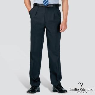 【Emilio Valentino 范倫提諾】吸濕排汗條紋打摺西褲(丈青)