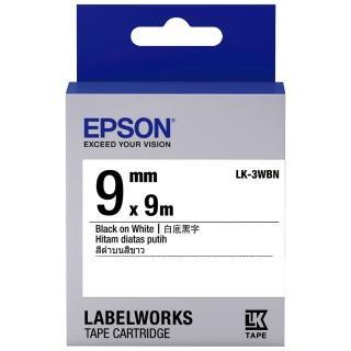 【EPSON】標籤帶 白底黑字/9mm(LK-3WBN)
