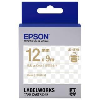 【EPSON】標籤帶 透明底金字/12mm(LK-4TKN)