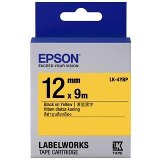 【EPSON】標籤機色帶黃底黑字/12mm(LK-4YBP)