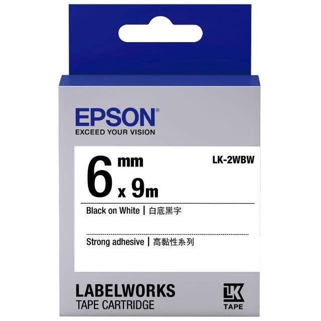 【EPSON】標籤機色帶白底黑字/6mm(LK-2WBW)