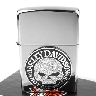 【ZIPPO】美系-哈雷-Harley-Davidson-SKULL(施華洛世奇水晶貼飾)
