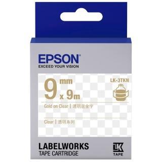 【EPSON】標籤帶 透明底金字/9mm(LK-3TKN)