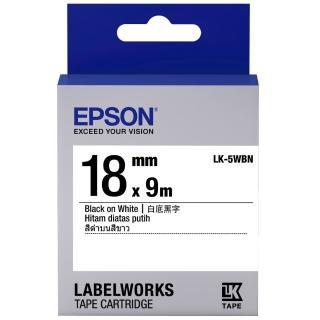 【EPSON】標籤帶 白底黑字/18mm(LK-5WBN)