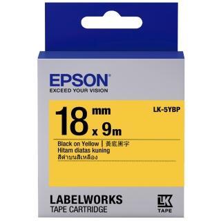 【EPSON】標籤機色帶 黃底黑字/18mm(LK-5YBP)