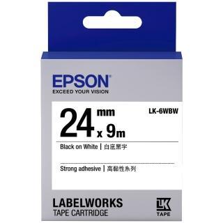 【EPSON】標籤機色帶白底黑字/24mm(LK-6WBW)