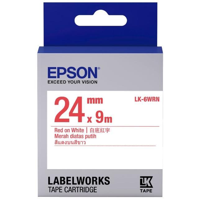 【EPSON】標籤機色帶白底紅字/24mm(LK-6WRN)