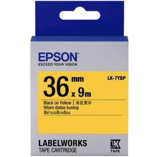 【EPSON】標籤機色帶黃底黑字/36mm(LK-7YBP)