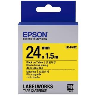 【EPSON】標籤機色帶磁磁鐵系列黃底黑字/24mm(LK-6YB2)